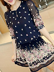 Women's Casual Floral Loose Dress , Round Neck Mini Others
