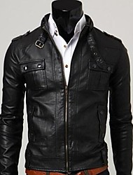 cuello alto color sólido pu causal de manga larga de ropa exterior de cuero de los hombres