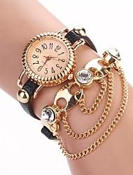 Women's Threaded circular Dial  PU leather Wind  Quartz Watch(Assorted Colors) C&d-121