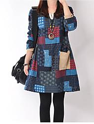 j&k em torno do pescoço solto ajuste de contraste vestido cor das mulheres