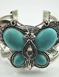 Toonykelly Vintage Look Women's Antique Silver Plated Butterfly Turquoise Stone Bangle(1 Pc)