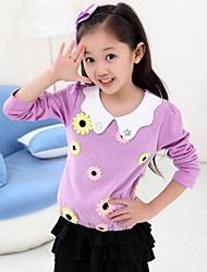 Mode für Mädchen süß Joker Blumen Revers Langarm-T-Shirt