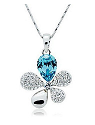 Mengguang Women's Crystal Flower Rhinestone Temperament Necklace