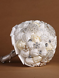 Pure White&Ivory Ribbon Roses with Pearls Wedding Bouquet