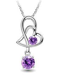 Weimei Women's Elegant Double Heart Diamond Silver Pendant (Not In Necklace)
