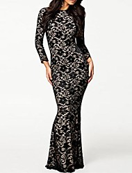 Women's Fully Lined Black Lace Evening Dress