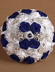 "Wedding Flowers Round Roses Bouquets Wedding Satin Blue / As Picture 7.87""(Approx.20cm)"