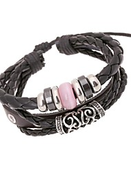 couro braceletsz charme&X® da moda punk grânulos do vintage pulseiras fio como corda de couro combinação