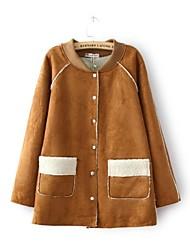 Women's Coat , Casual Long Sleeve Wool Blends