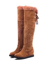 altas botas de los zapatos de las mujeres cuña punta redonda de la rodilla del talón con piel más colores disponibles