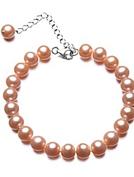 BRI.R® Fashion  Pink 7-7.5mm Natural Round Pearl Bracelet  6.8'' with 1.7'' Thail Chain S925 Silver Clasp