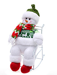 11.2inch Christmas Ornament Cute Snowman With Chair ,Cotton