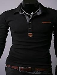 Black Man Men's Lapel Neck Slim Fit Long Sleeve T-Shirt