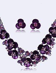 Европа моды горный хрусталь цветок комплект ювелирных изделий женщин (в том числе ожерелья серьги)