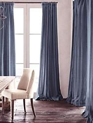 sala de oscurecimiento jean lino natural cortina azul (dos paneles)