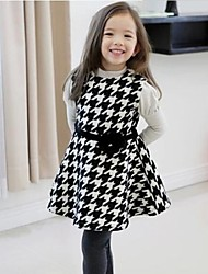 Girl's Black / Red Dress,Houndstooth Cotton Blend Winter / Spring / Fall