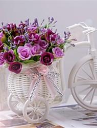 """8 """"H modernos multicolor rosas em bicicleta cesta branca"""