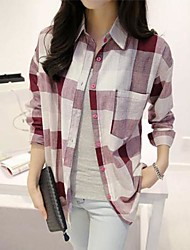 Women's Plaid Red/Black/Yellow/Purple Blouse , Shirt Collar Long Sleeve
