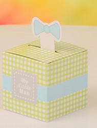Boîtes à cadeaux Faveurs et cadeaux de fête Baby shower Thème classique Cubique Non personnalisé Papier durci Vert #