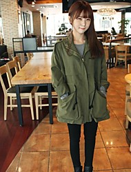 Women's Popular Stand Collar Preppy Self-belt Army Green Trench Coat