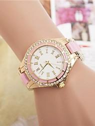 Mulheres Relógio de Moda Quartzo Lega Banda Brilhante Preta Branco Azul Vermelho Marrom Rosa