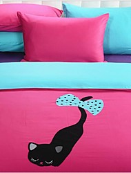 FADFAY@Pink Cartoon Cat Print Bedding Set Cute Kids Character Bedding Sets Queen Size Queen
