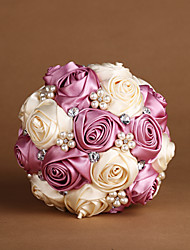 Pink & Ivory Satin Roses with Pearls Wedding Bouquet