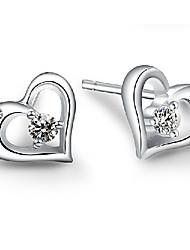 Brincos Curtos Amor Jóias de Luxo Prata de Lei imitação de diamante Formato de Coração Cor Ecrã Jóias Para 2pçs