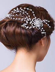 Mulheres Liga Zircônia Cubica Capacete-Casamento Ocasião Especial Flores Alfinete de Cabelo