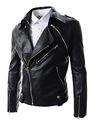 X-MAN Men's Slim Lapel Collar Short Coat