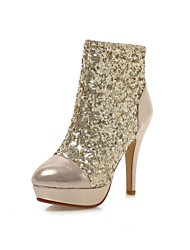 Women's Shoes Leatherette Spring / Fall / Winter Platform / Round Toe / Fashion Boots Office & Career / Dress Stiletto Heel SequinBlack /