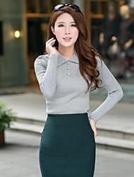 sauvage col de la pointe de la femme avec le bouton de couleur unie mince tricot