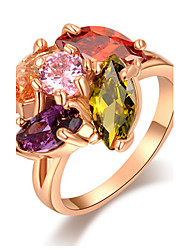 Ringe Party / Alltag / Normal Schmuck Aleación / Zirkon Damen Statementringe6 / 7 / 8 Goldfarben / Gelb / Rot / Orange / Lila / Rosa