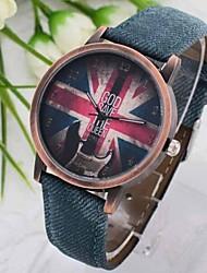 Mulheres Relógio de Moda Quartz Couro Banda Azul marca-