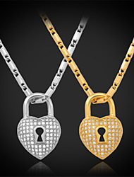 TopGold Luxury Heart Lock Pendant Necklace AAA+ Zirconia 18K Gold Platinum Plated Jewelry