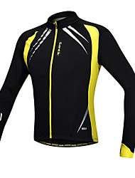 SANTIC Cycling Jacket Men's Long Sleeves Bike Jacket Jersey Tops Thermal / Warm Windproof Anatomic Design Fleece Lining Front Zipper