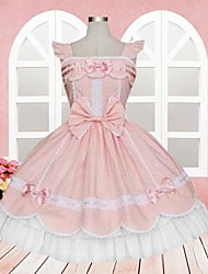 One-Piece/Dress Sweet Lolita Lolita Cosplay Lolita Dress Pink Lace Sleeveless Medium Length Dress For Women Cotton