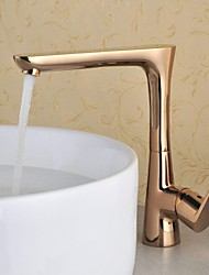 Antique Centerset Rotatable with  Ceramic Valve Single Handle One Hole for  Rose Gold , Bathroom Sink Faucet