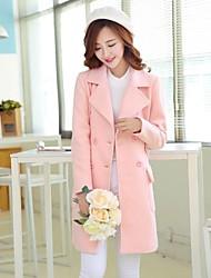 отворот сплошной цвет двубортные шерстяные пальто женщин