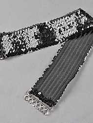 Women's  Round Nail Sequins Elastic Belt