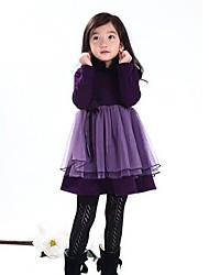 Girl's Solid Dress,Cotton Winter