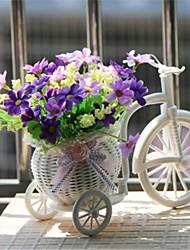 """8 """"H modernos margaridas multicolor em bicicleta cesta branca"""