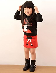 Children's Fashion Thickening Warm Fleece And Skirt Clothing Set