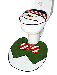 Christmas Snowman Bathroom Accessory Set,1pc Toilet Seat 1pc Bath Mat