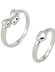 Fashion Silver Heart Couple Rings Random Color
