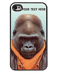 personalizzato del telefono caso - caso del metallo di disegno orangutan per il iphone 4 / 4s