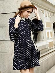 Women's Polka Dot Blue/White/Black Dress , Casual Shirt Collar Long Sleeve