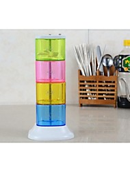 caixa de plástico condimento criativo caixa de tempero rotativo