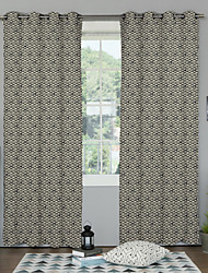 Neoclassical Designer Two Panels Geometric Multi-color Bedroom Polyester Panel Curtains Drapes