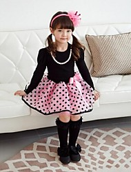 Girl's Brown / Pink Dress Cotton Blend Winter / Spring / Fall